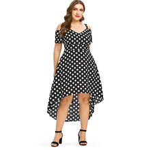 Wipalo Plus Size 4XL Cold Shoulder Summer Polka Dot Dress Women Big Size 2018 Short Sleeve Sundress Maxi Long Dresses Vestidos(China)