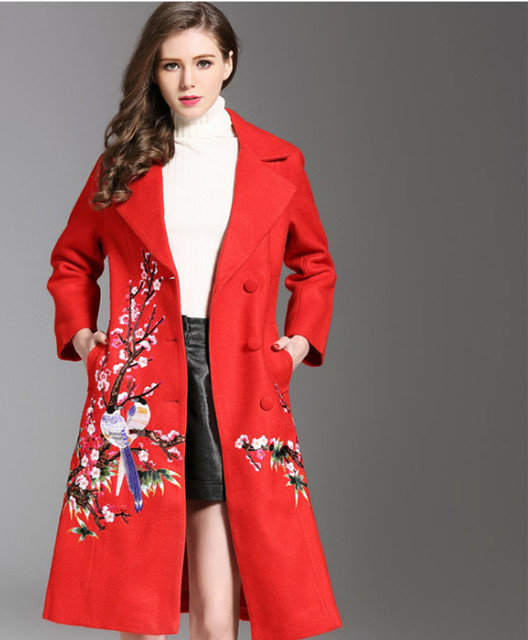 49bfbf43214 New Flower Printed Trench Coat for Women Plum blossom Jacquard Floral Thick Wool  Overcoat Plus Size Long Embroidered Outerwear