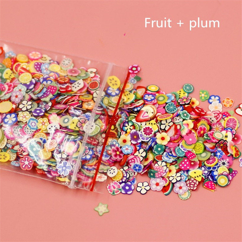 1000 Pieces Plasticine Addition Soft Ceramic Fruit Piece Mixed Fruit Bar Nail Jewelry Mobile Beauty Patch Slime Diy Supplies Home