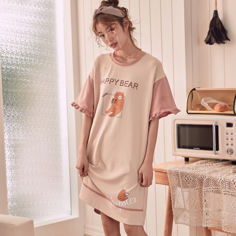 Summer Knitted Cotton O-neck Women Short Cartoon Sleepwear Girl   Nightgowns   Nightwear Nightdress Sleepwear Home   Sleepshirts   11310