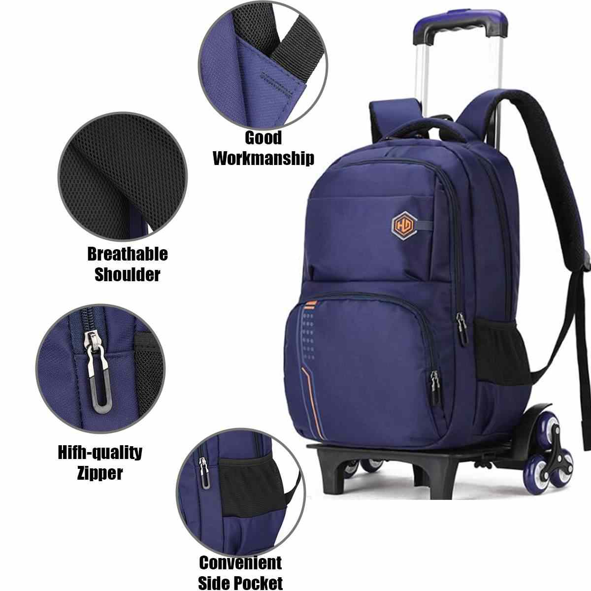2/6 Wheels Travel Rolling Luggage Bag School Trolley Backpack For Boys Backpack On Wheels Kid's Trolley School wheeled Backpack