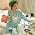 2017 mulheres conjuntos de pijama de Outono e inverno de Manga Comprida pijamas de femme mujer homewear M L XL XXL casa terno pijama Plus Size