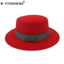 BUTTERMERE Red Fedora Hat For Women Wool Boater Felt And Cap British Style Vintage Female Brand Woolen Jazz