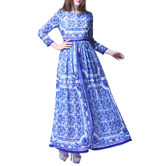 Vestidos de playa Womens Blue And White Porcelain Printed Fit-and-Flare Party Maxi Dress
