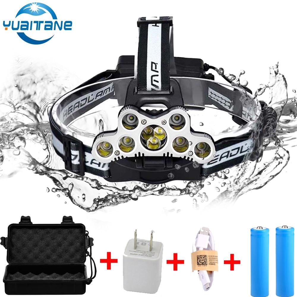 USB Rechargeable COB Headlight 80000lm Headlamp 7*T6+2*Q5  Head Lamp Flashlight Torch Head Light Lantern 2*18650 Battery