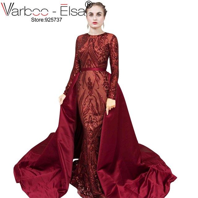 VARBOO ELSA Saudi Arabia Long Sleeves Mermaid Evening Dresses 2019 Dubai  Kaftan Muslim wine red sequin Formal Prom dresses 2018 3e796dc5378f