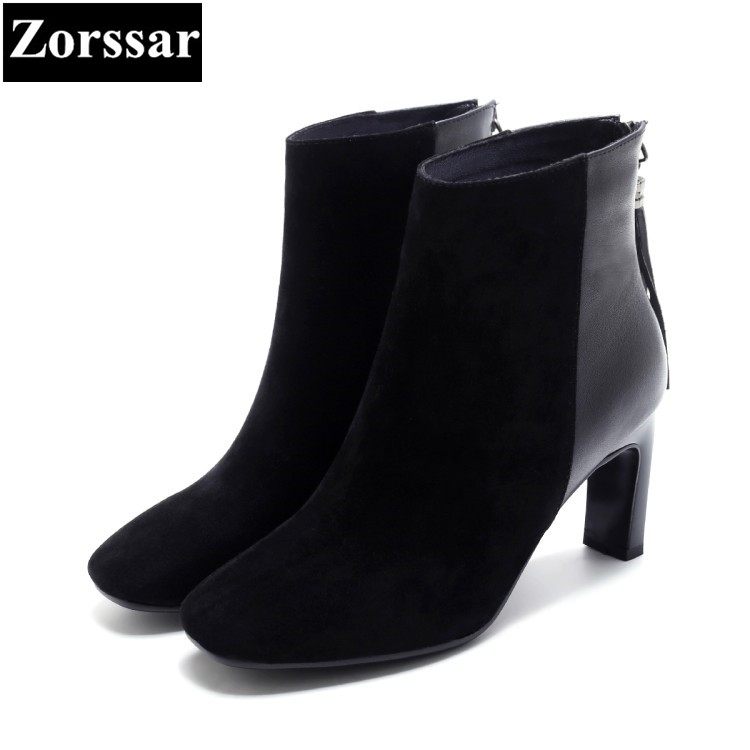 {Zorssar} 2018 NEW arrival fashion tassel women boots Cow Suede Square Toe High heels ankle boots autumn winter women shoes zorssar brands 2018 new arrival fashion women shoes thick heel zipper ankle chelsea boots square toe high heels womens boots