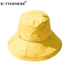 BUTTERMERE Summer Bucket Hats For Women Yellow Cotton Linen Fishing Caps Ladies Casual Wide Brim 10cm Solid Female Foldable