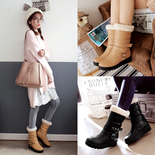 Plus Size 33-43 Winter Women Boots 2016 New Fashion Soft Boots Solid Shoes Woman Buckle Super Warm Snow Boots Increased Flats