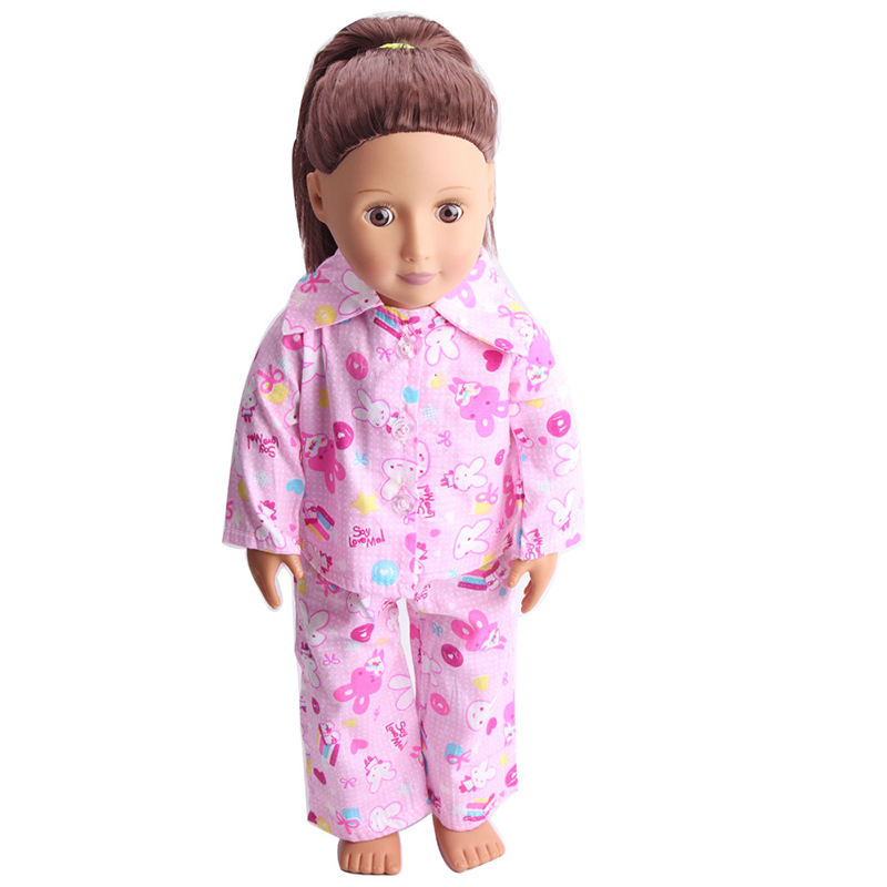 """Pink Bunny Rabbit Nightgown 6/"""" Doll Clothes Fits Mini American Girl Dolls"""