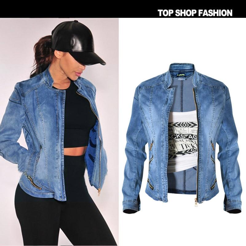 2017 New Fashion Women S Denim Jacket Zipper Popular Baseball Jacket