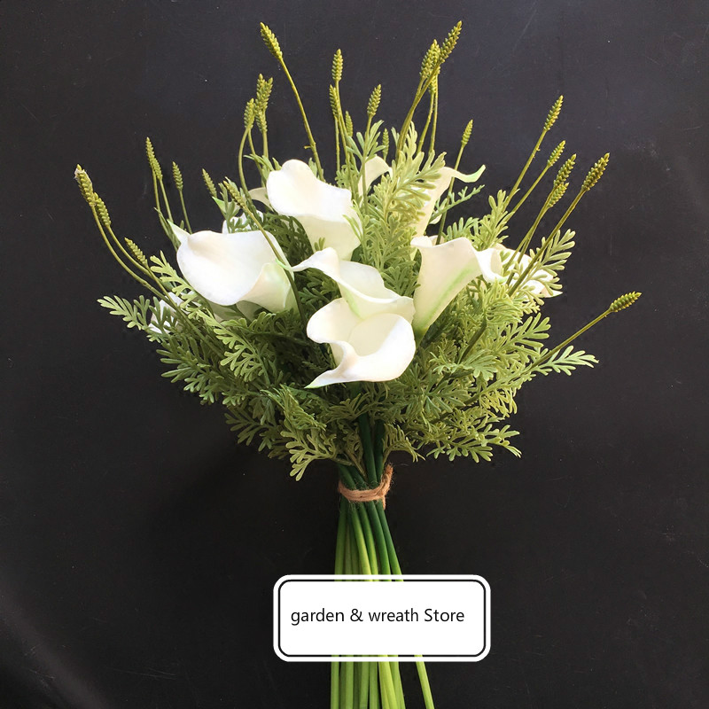 Wedding Decoration Table Centrepiece Artificial Flowers Real Touch Lavender Calla Lily Bouquet Diy Bridal Fl In Dried From