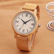 Luxury Men Women Bamboo Wood Watch Fashion Quartz Simple Genuine Leather Lovers Wristwatch Unisex Relogio Feminino Masculino New
