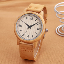 Luxury Men Women Bamboo Wood Watch Fashion Quartz Genuine Leather Wristwatch Unisex Relogio Feminino Masculino with Box