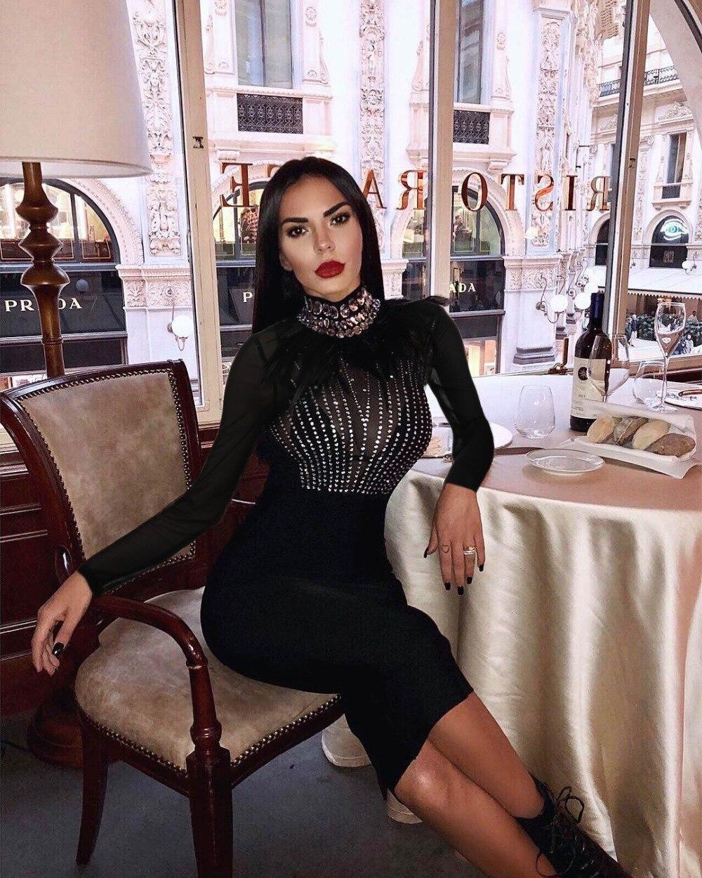 Cocktail Club Noir Robe D'hiver Perles Manches Plumes Col Qualité À Top Sexy Celebrity Moulante Night Bandage Longues Roulé OwkP8n0