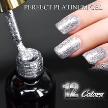 #607522017 New CANNI supply nail art Venalisa 12 ml 12 color dinner diamond shining shine sequins stellar platinum paint gel