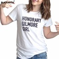 Summer Women's Black White Cotton O neck T Shirts HONORARY GILMORE GIRL Letters Shirt Short Sleeves Casual Fashion Tops