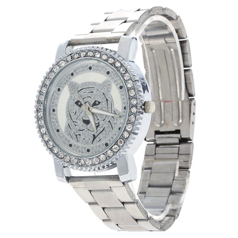 US $3.65 6% OFF|2019 marke Silber Gold Diamant Uhren Mode Uhr Frauen Diamant Tiger Damen Uhr Relogio Feminino Uhr Frauen Saat in Damenuhren aus Uhren