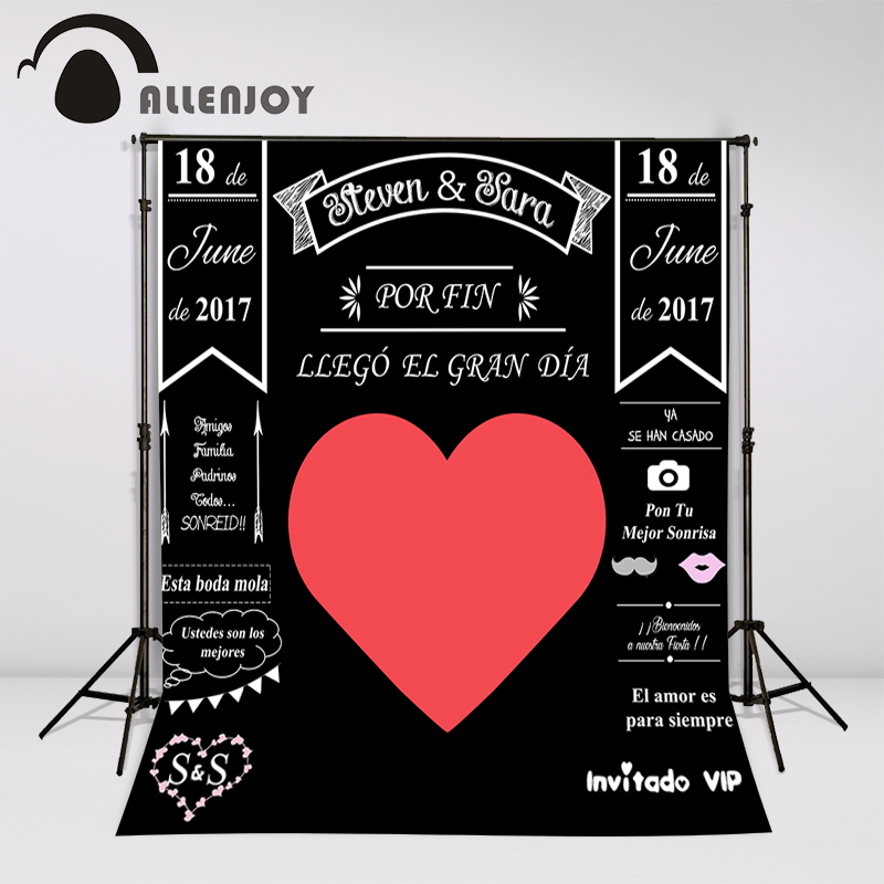 Allenjoy Custom blackboard Wedding Background Idea Chalk big heart Party Background photo booth diy photocall Excluding bracket allenjoy diy wedding background idea chalk archway backdrop amazing chalkboard custom name date photocall excluding bracket