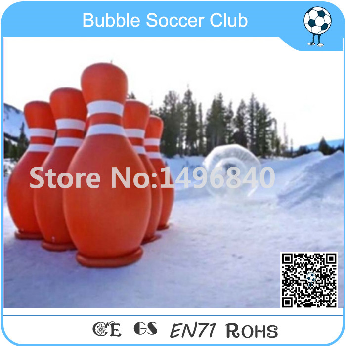 Free Shipping 6 Pieces 1.8m A Lot Bowling Pin+1pc 3m Diameter Zorb Ball Inflatable Human Bowling, Giant Inflatable Bowling Pins 3m diameter empty inflatable snow ball for advertisement christmas decorations giant inflatable snow globe