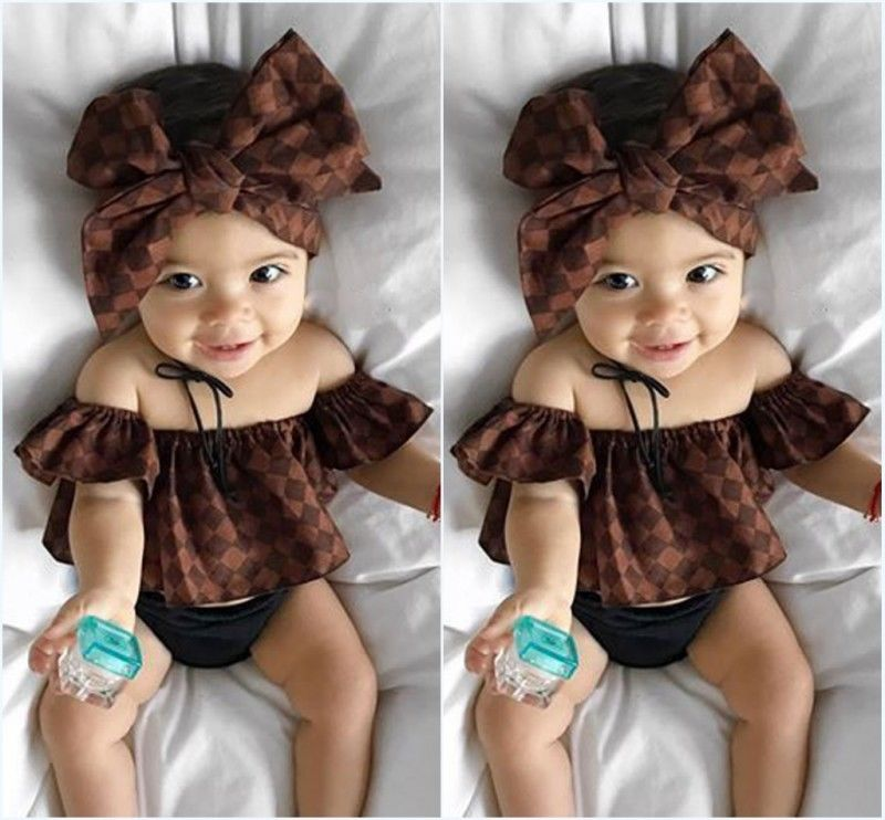 2pcs Newborn Toddler Infant Baby Girl Clothes Off Shoulder Tops Headband Sunsuit Outfit Clothes Summer Cute Costume