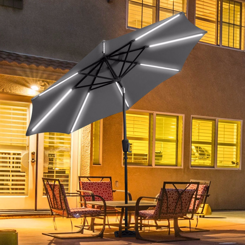 Giantex 9 FT Patio Solar Umbrella LED Tilt Deck Waterproof Garden Market Beach Gray Outdoor Furniture OP3246GR