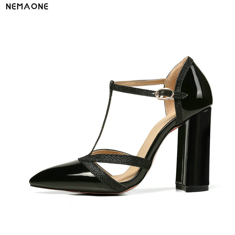 NEMAONE 2018 New women pumps thick high heels summer shoes woman T-strap ladies dress shoes big size 34-43 цена 2017