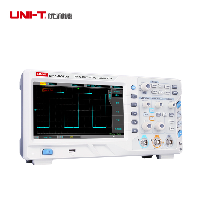UNI T UTD2102CEX-II NEW Oscilloscopio a memoria Digitale 2CH 100 mhz di larghezza di Banda 1GS/s Scopemeter 8 pollice TFT LCD ETL certificazione
