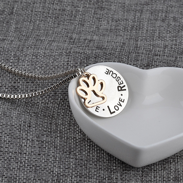 Miss Zoe Lettering LIVE LOVE RESCUE Hollow Gold Paw Claw Pendant Necklace Angel Pet Simple Jewelry Special Gift Adopt Dog Lovers 5