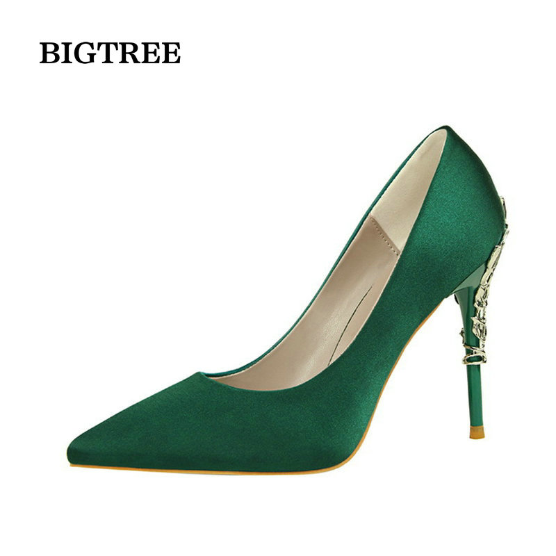 2016 New Sexy Mental Heel Women Party Wedding Shoes Silk leather High Heels Women Pumps Flower Metal Heel Stiletto 13 colors new arrival awesome pink silk metal stiletto high heel shoes women fancy metal branch decoration thin heel pointy pumps hot sell