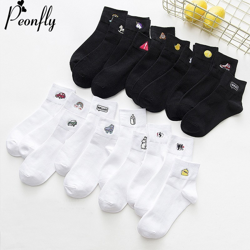 PEONFLY Embroidery Cartoon Duck Dog Car Expression Happy   Socks   Women Ventilation Cotton Black White   Socks   Autumn Winter Fashion