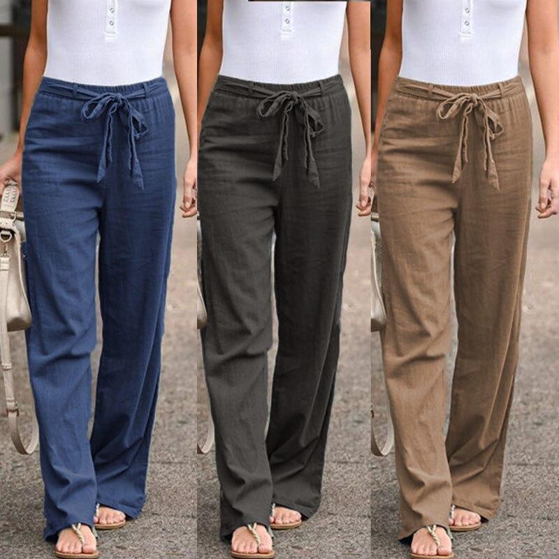 Plus Size Women's Summer Trousers 2019 ZANZEA Cropped   Pants   Kaftan Elastic Waist Straight Causal Long Pantalon Woman Palazzo
