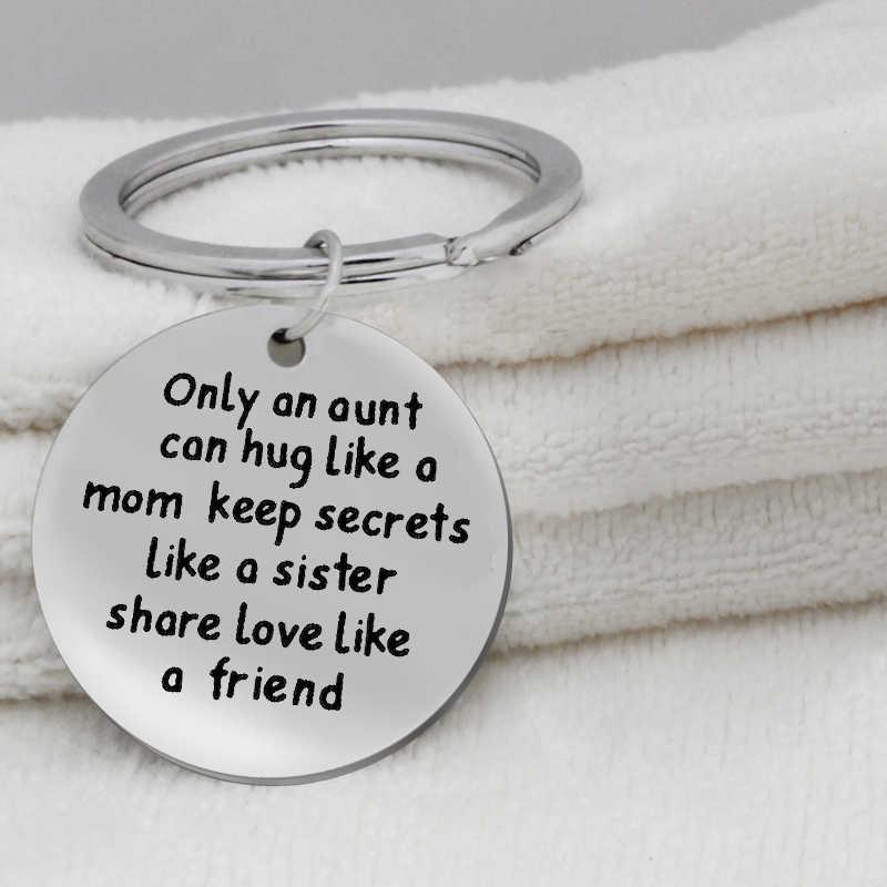 Ufineเพียงanป้าสามารถกอดเช่นแม่ให้ความลับเช่นน้องสาวจี้สแตนเลสเครื่องประดับพวงกุญแจK064