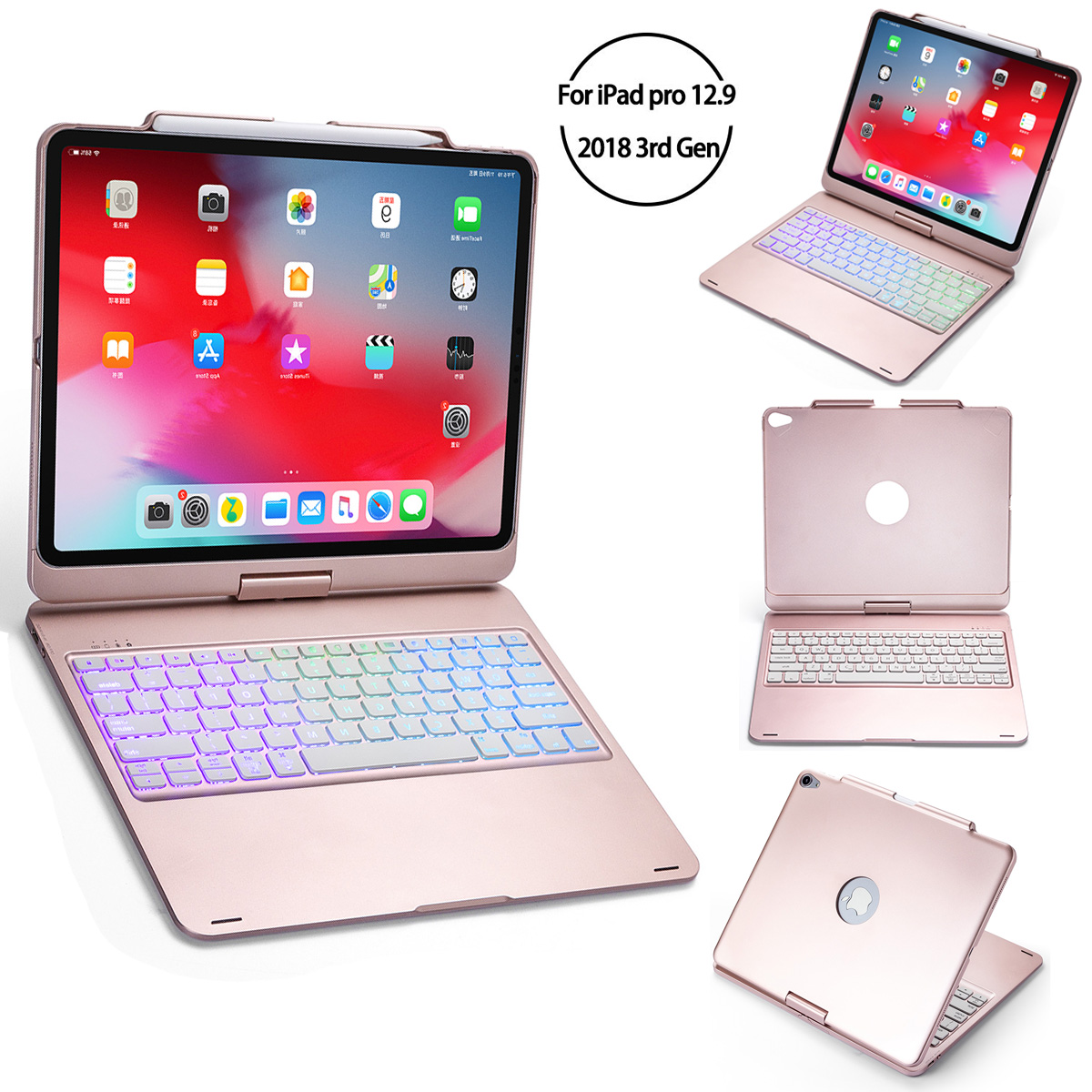 """For iPad Pro 2018 12.9"""" Bluetooth Keyboard Case Folio Stand 7 Color Backlit Wireless 360 Degree Rotation Smart Sleep Tablet Case"""