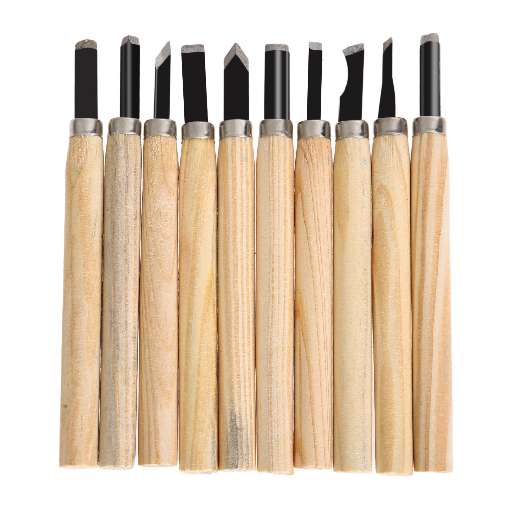 10pcs/Set Hand Wood Carving Chisels Knife for Basic Woodcut Working Clay Wax DIY Tools and Detailed Woodworking Hand Tools NG4S