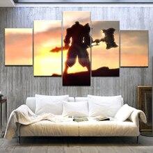 цена Game character Jayce of League of Legends 5 Panel HD wall posters Print On Canvas Art Painting For home living room decoration онлайн в 2017 году