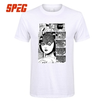 Uzumaki хлопковая футболка для мужчин Junji Ito футболки для девочек ужас Манга футболка для мужчин Slim Fit короткая футболка Скидка для мужчин's крас...