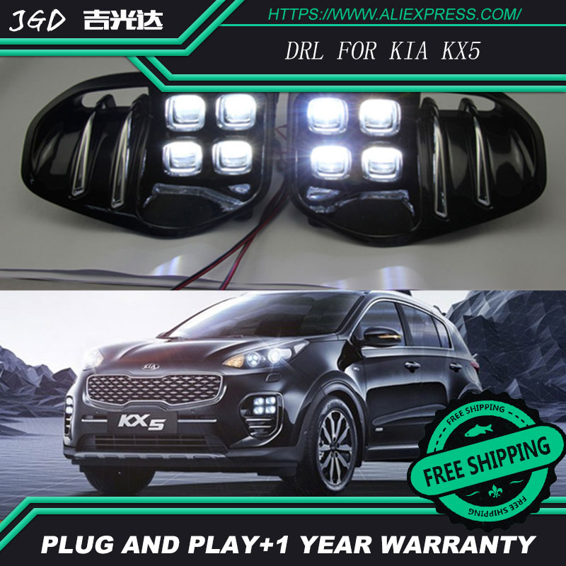 Car Styling LED Daytime Running Light for KIA KX5 DRL 2016 2017 Elantra LED DRL Fog Light Cover Front Lamp Auto Parts akd car styling for kia k5 drl 2014 2015 new optima led drl korea design led running light fog light parking accessories