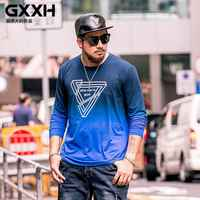 GXXH Men graphic Shirt Plus Size Men's T-shirt Long Sleeve Oversized T Shirt Big Male Clothing Print King Size Xxxxl 5XL 6XL 7XL