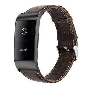 Image 5 - YOOSIDE Fitbit Şarj için 3 Hakiki Deri Band Kayışı Erkekler Wonwen Bileklik Fitbit Şarj için 3/Şarj 3 SE akıllı bilezik