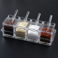 Spice box creative salt shaker household combination set glass seasoning box storage box kitchen seasoning jar wx9061806