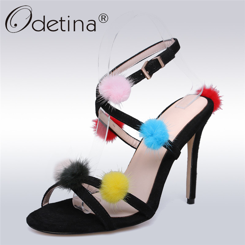 Odetina 2018 New Fashion Women Cross Strap Sandals Sexy High Heels Party Shoes Buckle Fur Ball Elegant Stilettos Plus Size 34-43 brand new sale fashion low fretwork heels rhinestone women party shoes elegant sweet ankle buckle strap lady top quality sandals