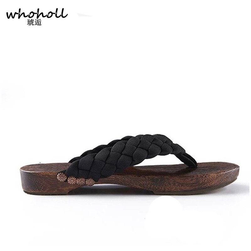 71213d53a9e6 WHOHOLL Geta Wooden Clogs Summer Sandals Women Slippers Japanese Geta  Non-slip Flip-flops