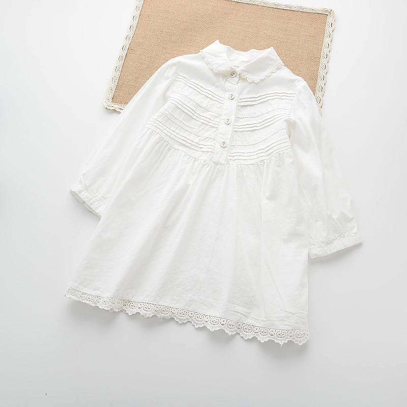 ФОТО Cotton Snow White Girls Dress Summer Long Sleeve Girls Costumes Turn Down Collar Vestidos Mujer Toddler Girl Clothing 211