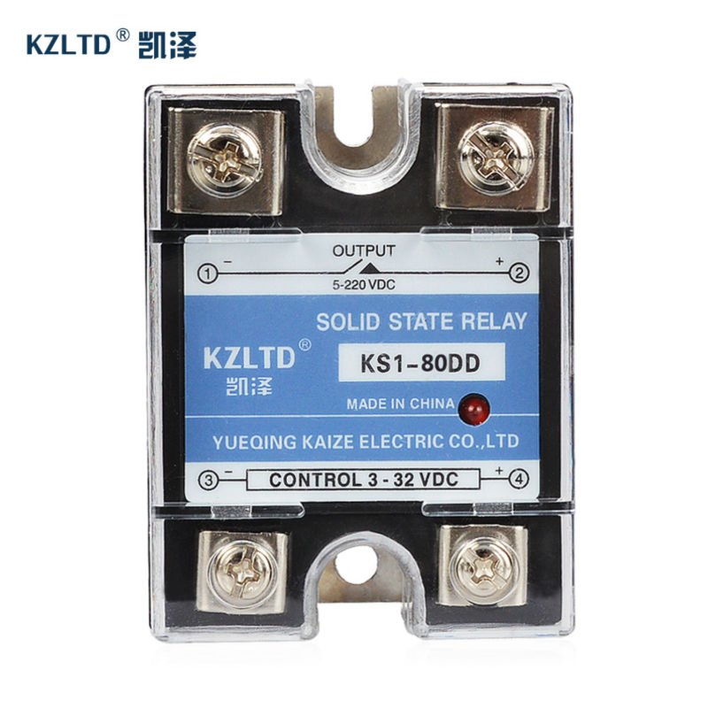 KZLTD Single Phase Solid State Relay 80A SSR Relay DC DC Out Relay Solid State SSR-80DD Temperature Relay High Quality ssr 40da single phase solid state relay white silver