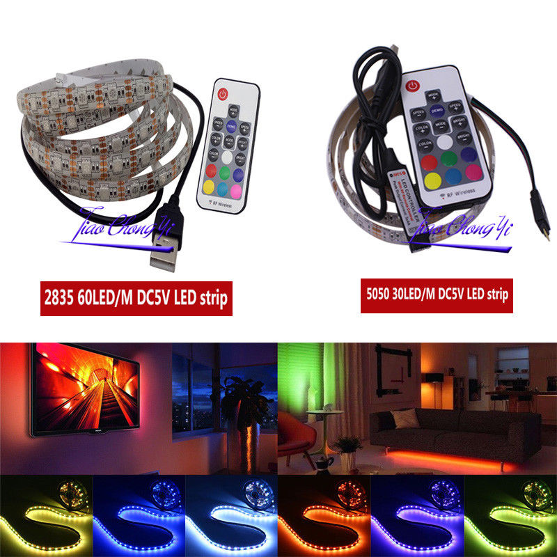 LED Strip Light 5050 2835 SMD RGB Bar TV White Lighting Kit +17Key RGB USB Remote Control DC5V