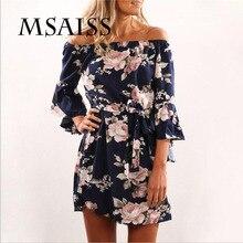 Купить с кэшбэком MSAISS Women Spring Off Shoulder Floral Print Chiffon Dress Boho Style Short Party Beach Dresses Vestidos de fiesta