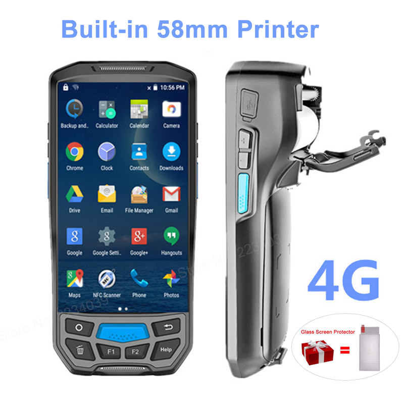 2 in 1 built in 58mm thermal printer 4G handheld POS terminal wireless 1D/2D barcode scanner portable reader WIFI/Bluetooth PDA