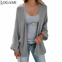 f9809753095c LOGAMI Bat Sleeve Casual Sweaters Autumn 2018 Woman Loose Coat Knitted  Cardigans Long