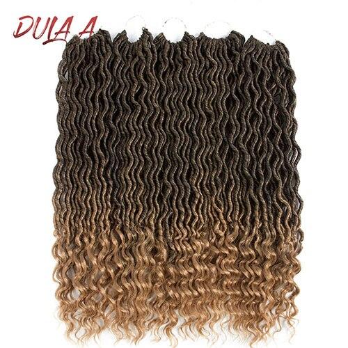 Dula волосы Омбре Faux locs Curly вязанные волосы для наращивания 20 дюймов Длинные Синтетические мягкие вязанные косички дреды волосы для наращивания - Цвет: T1B/27